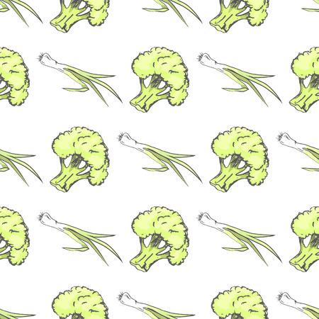 녹색 유기농 브로콜리와 부추 끝없는 질감
