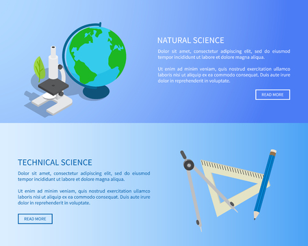 자연 및 기술 과학 인터넷 정보 페이지 일러스트