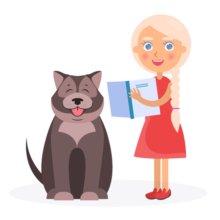 Pretty Girl with Book and Tibetan Mastiff on White Illustration