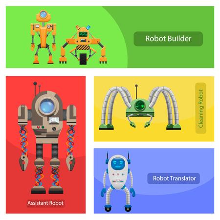 Moderne Roobots voor verschillende behoeften illustraties instellen