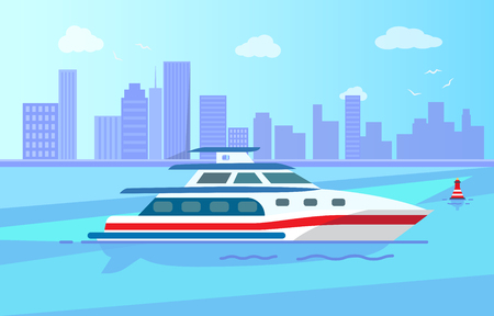 Luxurious Modern Yacht on Water Surface near City