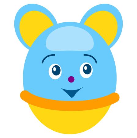 Ronde blauwe muis tuimelaar geïsoleerde illustratie