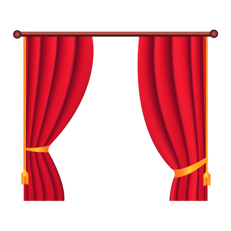 Long Silk Red Theater Curtain Hangs on Cornice Stock Vector - 89335712