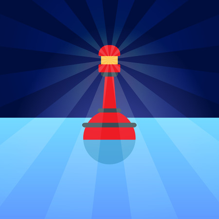 navigational light: Red Plastic Buoy with lighter in Blue Water