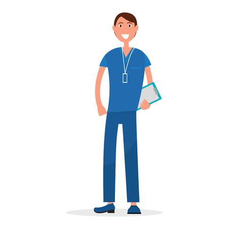 Man arts in blauwe uniform met recept lijst