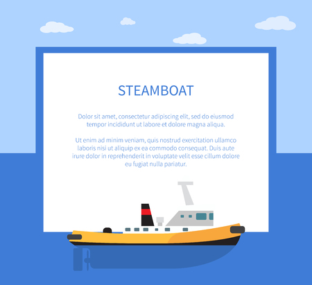 Small Steamer on Calm Water Surface, Steamboat Illustration