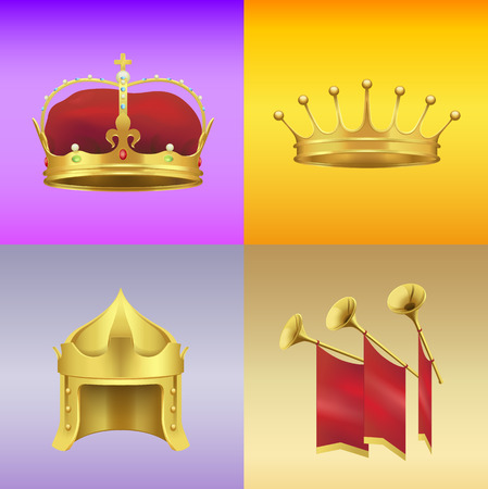 Gold Kings Crowns and Chimneys Illustrations Set