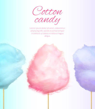 Cotton Candy Banner with Sweet Floss Spun Sugar Reklamní fotografie - 89335718