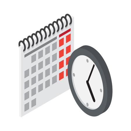 cronologia: Flip Calendar y reloj de pared en estilo plano Vectores