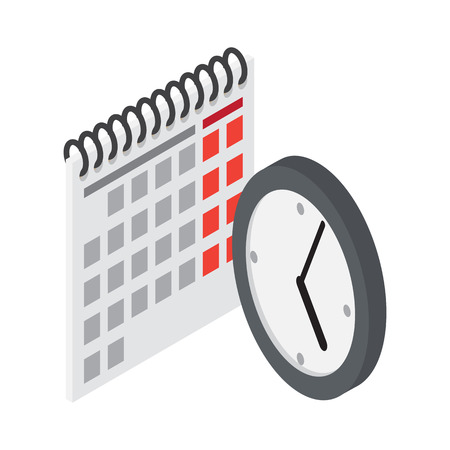 Flip Calendar and Wall Clock in Flat Style