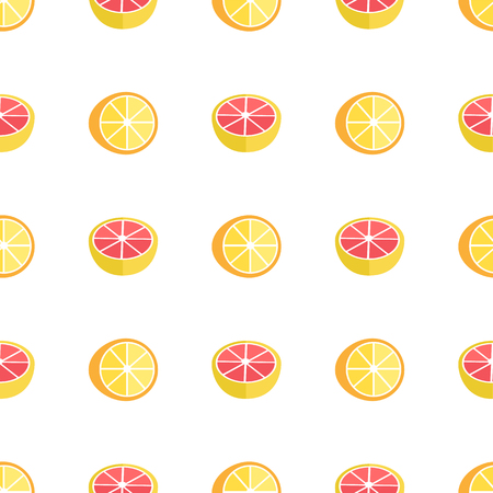 Seamless Pattern with Oranges and Grapefruits