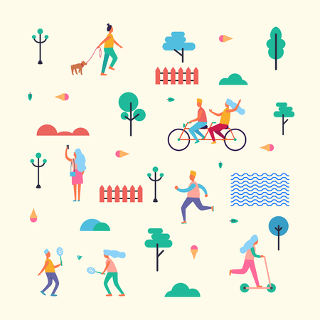 Pattern Made of Minimalistic Characters on Walk Illustration