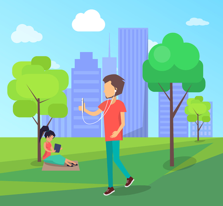 Work on Fresh Air Conceptual Vector Banner People Illustration