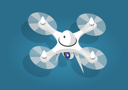 White Flying Quadcopter Flat and Shadow Theme