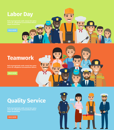 Día de trabajo, trabajo en equipo y servicio de calidad Página de información Foto de archivo - 89335769