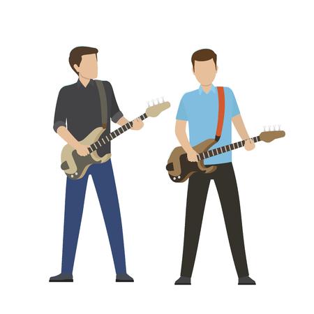 電気と低音のギターの男性キャラクター プレイ