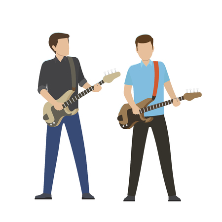Male Characters Play on Electric and Bass Guitars