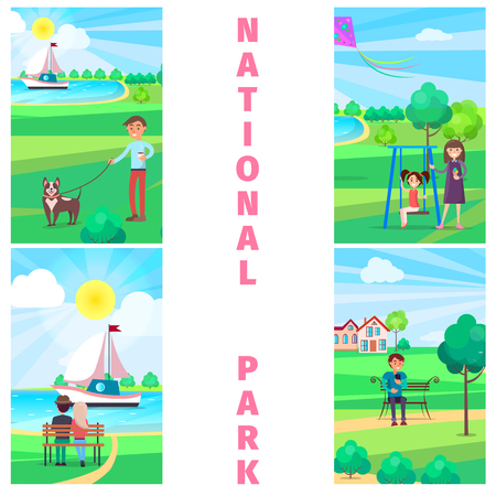 National Park in Summer with Relaxing People. Illustration