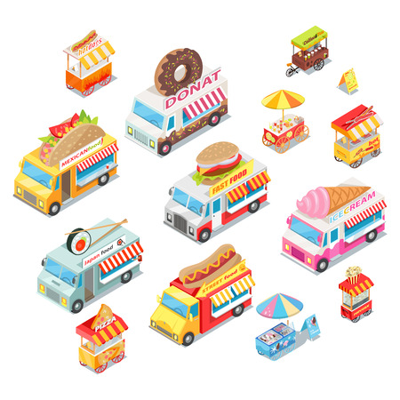 Street Food Eateries on Wheel Isometric Vector Set