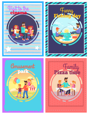 Exciting Day with Cheerful Father Posters Set Ilustração