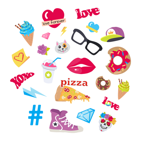 Vector Icons Set Stickers of Snack Accessory Items