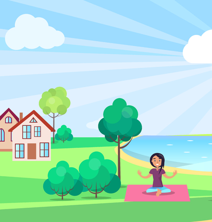 Girl Doing Yoga Outdoors, Buildings on background Illustration