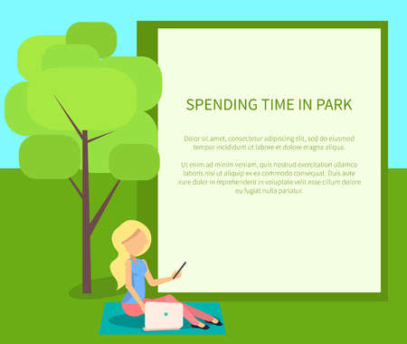 Spending Time in Park Conceptual Banner with Woman