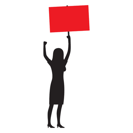Woman Silhouette with Red Streamer Illustration Illustration