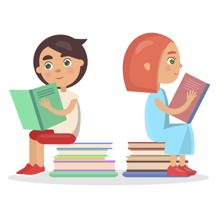 Girl and Boy with Open Textbook Sitting on Books Illustration