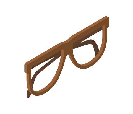 Brown Glasses for Eyesight Isolated Illustration