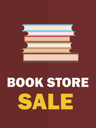 Book Store Sale Poster with Pile of Books Closeup