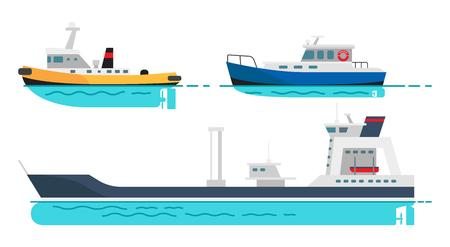 Vissersboot, kleine stoomboot en groot vrachtschip