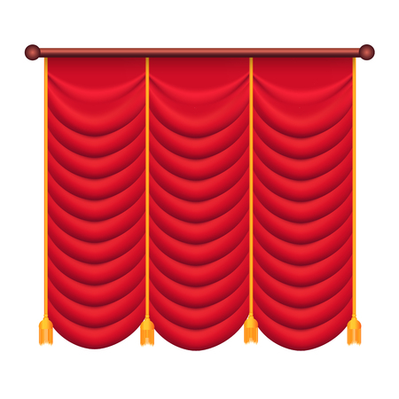 Classic Heavy Red Drape with Gold Tie Back Vector Ilustrace