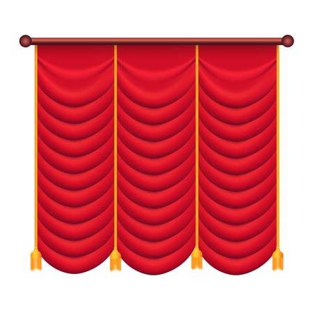 Klassieke zware rode draperen met gouden stropdas terug Vector