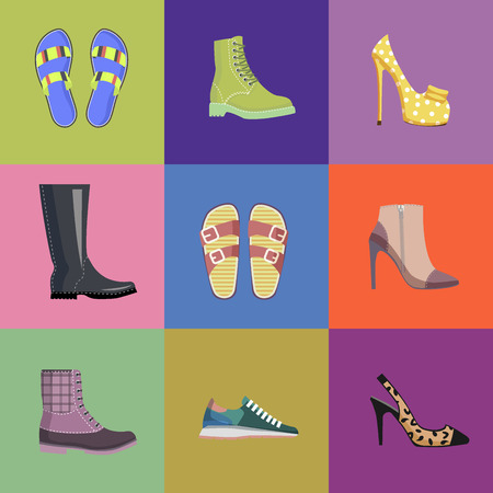 Set of Women Footwear Summer and Autumn Nine Icons