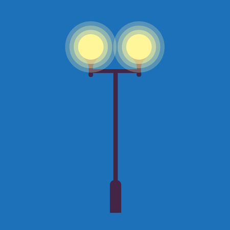 Street Lamp with Two Burning Light Bulbs on Blue