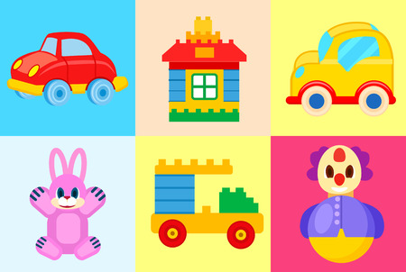 Toys Collection Isolated on Colorful Backgrounds Ilustrace