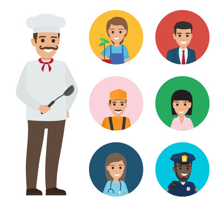 Italian Chef and Set of People of Different Jobs Illustration