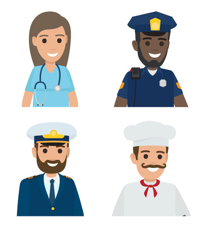Professions Vector Doctor, Policeman, Sailor, Cook Stock Photo
