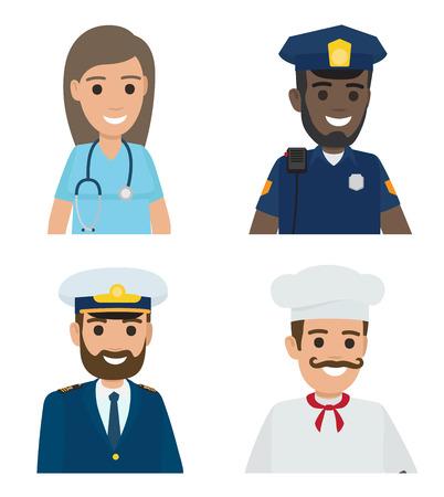 Professions Vector Doctor, Policeman, Sailor, Cook Stok Fotoğraf