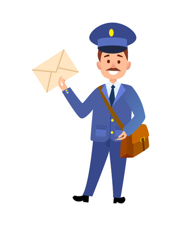 Postman Delivering Letter Isolated Cartoon Vector Stock Photo
