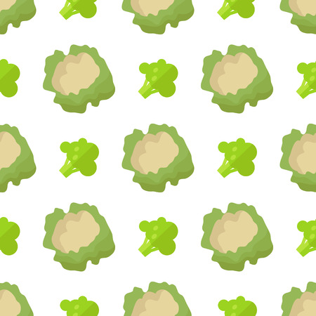 Cauliflower and Broccoli Seamless Pattern Isolated