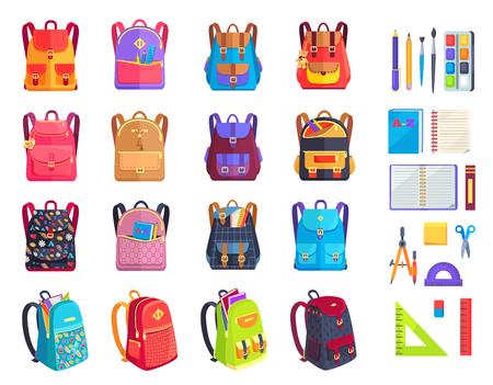 Conjunto colorido de mochilas y útiles escolares Foto de archivo - 89335933