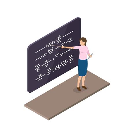 Female Teacher Explains Material Near Blackboard Illustration