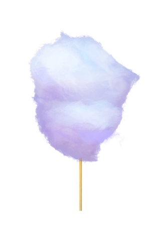 Realistic Purple Cotton Candy on Stick Isolated Illustration