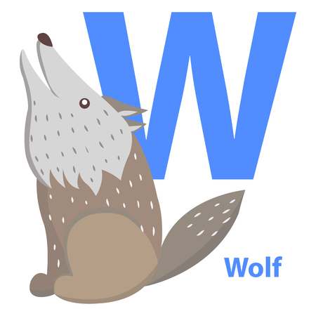Blue Letter W Sitting and Howling Wolf ABC Cards