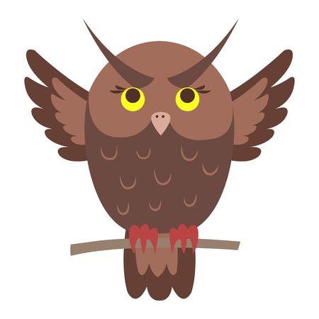 Cute Owl Cartoon Flat Vector Sticker or Icon