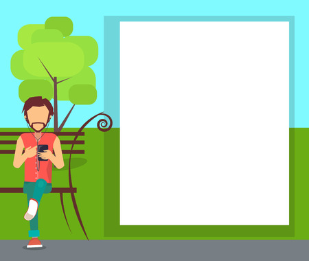 Spending Time in Park Conceptual Banner with Man Illustration