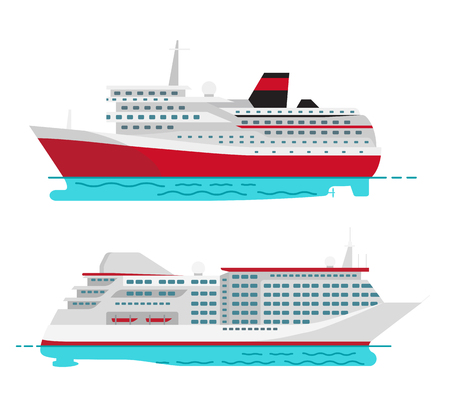 Spacious Luxury Cruise Liner and Big Red Steamer Illustration