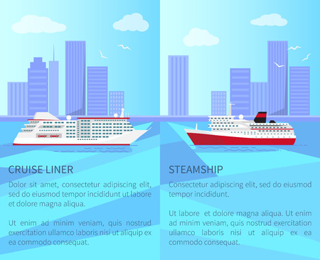 Luxurious Cruise Liner and Spacious Steamship 向量圖像